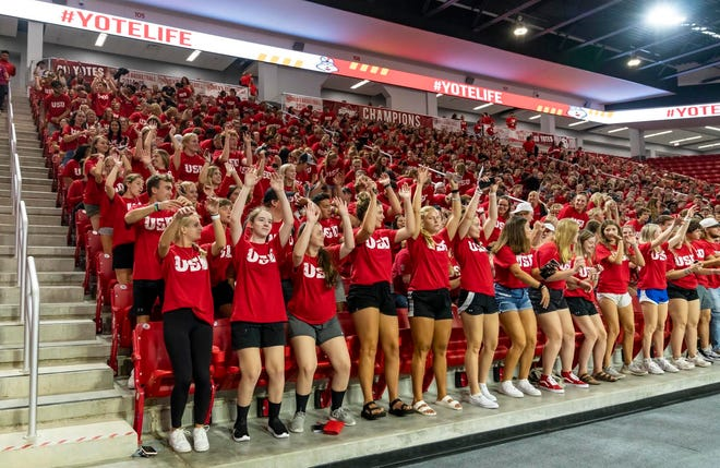 Coyote fans as pictured during an Aug. 20, 2021 move-in day pep rally at the University of South Dakota.