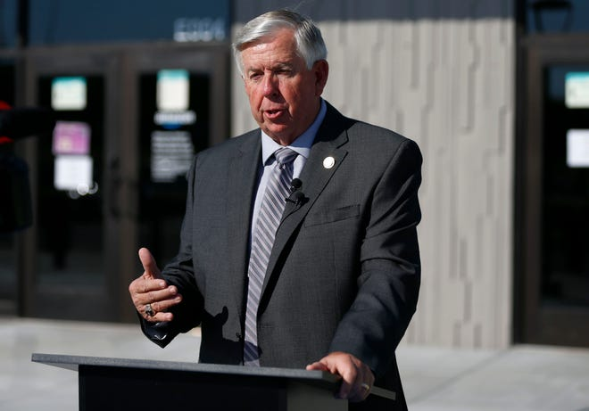 Missouri Gov. Mike Parson in Republic on Sept. 27, 2021. Parson on Thursday said he was pursuing prosecution against the St. Louis Post-Dispatch after the newspaper revealed it had discovered a data vulnerability in a state website.