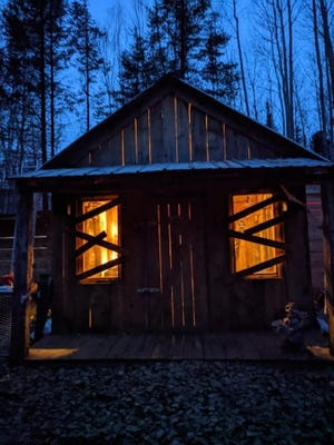 One of the cabins along the trail at Creepy Hollow in Antigo.