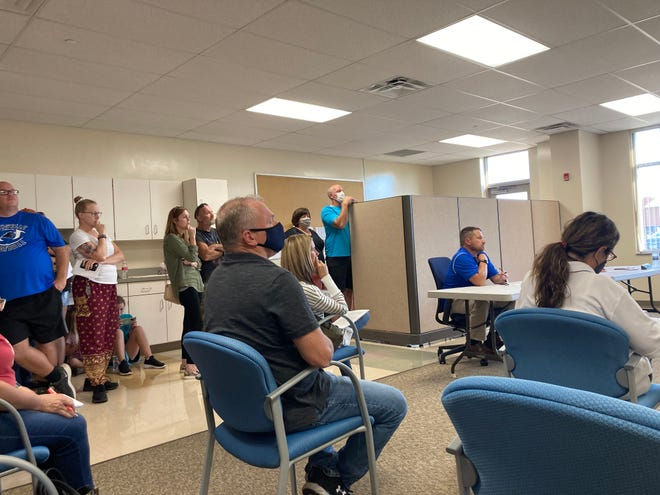 Spectators gathered at a Maysville Board of Education work session on Monday, Sept. 27, 2021.