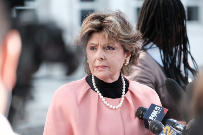 Gloria Allred, lawyer for three of R. Kelly's accusers who testified in the case against the R&B star, speaks to the media after a federal jury in Brooklyn found Kelly guilty of racketeering and sex trafficking charges after two days of jury deliberations, Sept. 27, 2021 in New York City. T