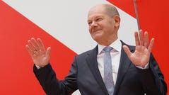 Olaf Scholz, chancellor candidate of the German Social Democrats (SPD), speaks to the media at the Federal Chancellery following the SPD's narrow win in yesterday's federal elections on Sept. 27, 2021, in Berlin. The SPD came in 1.6 points ahead of the Christian Democrats union of CDU/CSU, setting the stage for what will likely be arduous exploratory discussions and negotiations between the four leading parties over the next several months before the creation of a new coalition government.