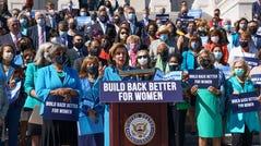 """House Speaker Nancy Pelosi, D-Calif., holds a rally in support of President Joe Biden's """"Build Back Better"""" for women agenda, at the Capitol in Washington, on Sept. 24, 2021."""