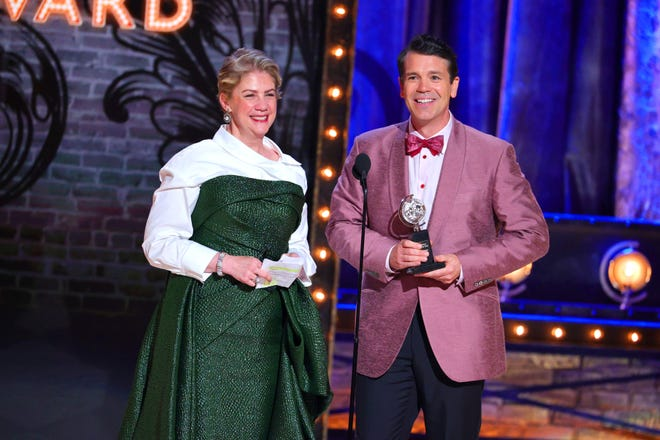 Jenny Steingart and Anthony Veneziale receive the Special Tony Award for Freestyle Love Supreme.