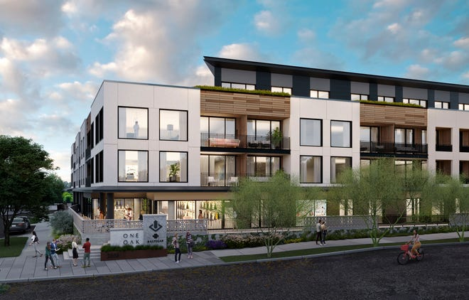 An artists rendering shows the plan for the One Oak condo project, which is expected to be built in Austin's Bouldin Creek neighborhood. Construction is set to start in early 2022. [Frost Visualizations]