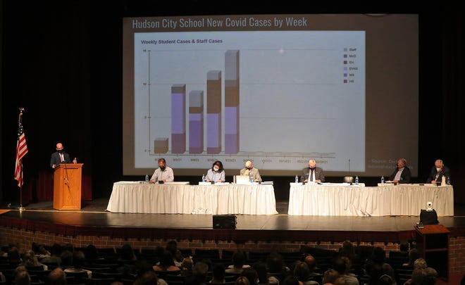 Hudson City School District Superintendent Phil Herman presents a graph showing the new COVID-19 cases in the district during a school board meeting in the Hudson High School auditorium, Monday, Sept. 27. Herman announced that the district's mask mandate will continue.