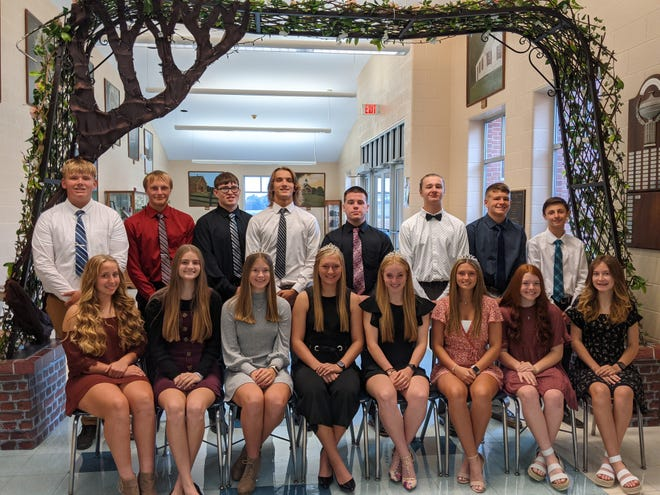 United High School will announce its fall homecoming queen and king at Friday's varsity football game against East Palestine. Court members are, front row from left, Katherine Dees, Kendall Nelson, Emily McKarns, Allison Brown, Jade Watt, Samantha Benner, Madison Cope and Kailee Farmer; and back row from left, Wayden Kiko, Ryan Keir, Cole Ellyson, Ward Kiko, Angus Cope, Parker Berdine, Grant Irwin and Landon Jones.