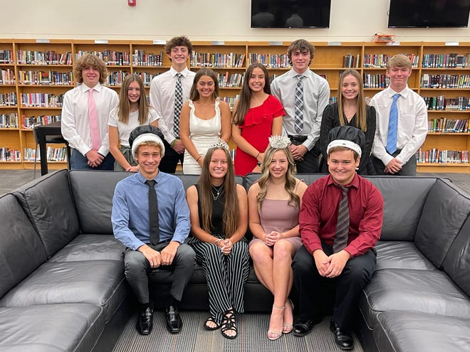 Marlington High School will coronate its homecoming court at Saturday night's dance at the school in Lexington Township. In the court are, front row from left, 2021 Duke Cohen Boyce, 2021 Duchess Ava Collins, along with 2020 Duchess Lexi Sabatino and 2020 Duke Walter Bungard. In the back row, from left, are freshmen escort Dillon diDonato and attendant Claire Battershell; senior escort Ben Yoder and attendant Catarina Hagan; junior attendant Carmen Daza Cortina and escort Tommy Skelding; and sophomore attendant Autumn Hager and escort Daniel Dager.