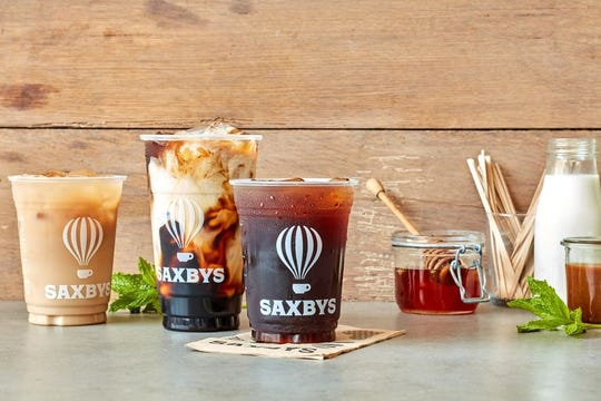 Saxbys Haddonfield offers cold brews and more right across from Haddy the Dinosaur.
