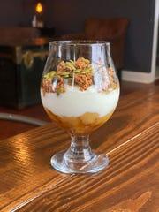 Try the Honey Apple Parfaits — organic yogurt, house-made apple compote, New Jersey honey, gluten-free granola and toasted pepitas.