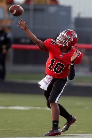 Making his first varsity start, Westerville South sophomore quarterback Dominic Birtha completed 13 of 19 passes for 239 yards and three touchdowns as the Wildcats defeated visiting Westerville North 62-21 on Sept. 24.