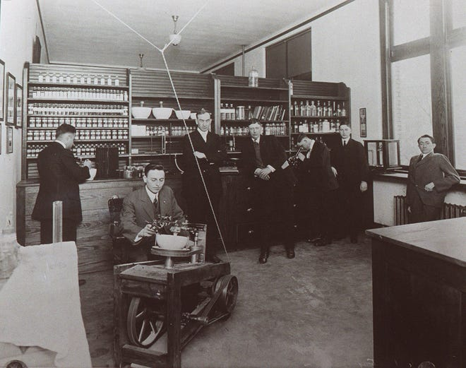 The Ohio State University student pharmaceutical dispensary as it looked in 1925. It was permanently closed after two students died after taking pills laced with a swift-killing poison.
