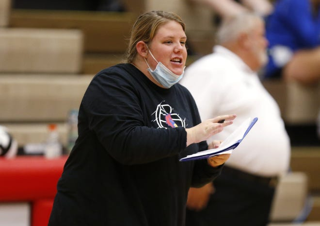 """First-year Thomas girls volleyball coach Ellen Hawkins is a 2014 graduate who played for the Cardinals. She has been working to build the confidence of her players so they can """"realize the talent that they have."""""""