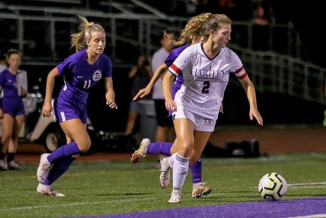 """Senior defender Emily Knox (2), an Otterbein commit, is one of the top players for Hartley. Coach Jenn Moore said the Hawks are """"hungry"""" to defend their district title."""