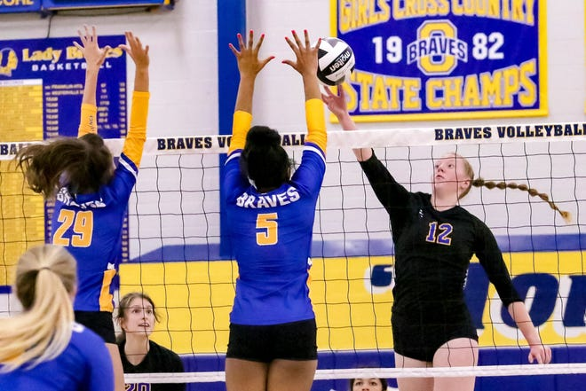 Junior middle hitter Audrey Worthington (right) has been a key performer for Gahanna Lincoln, which erased a 1-6 start by winning eight of its next nine matches.