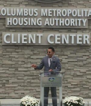 Charles Hillman, president and CEO of the Columbus Metropolitan Housing Authority, speaks Tuesday about the opening of the new RISE Center.