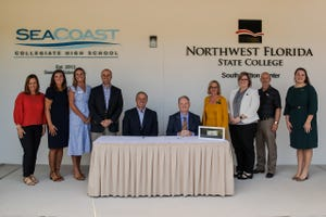 Northwest Florida State College, Seacoast Collegiate High School and The Seaside School Foundation representatives signed a lease agreement Sept. 27 to form a partnership to build a new educational facility at the college's South Walton Center.