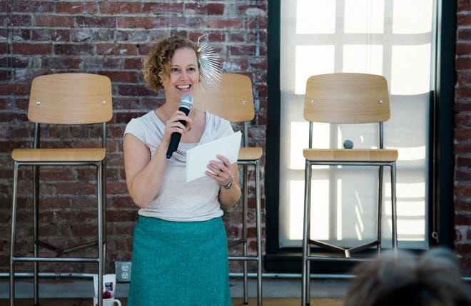 Cardinal Stage artistic director Kate Galvin speaks at the 2019 Ada Lovelace Day celebration at The Dimension Mill.