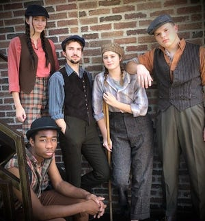 Five members of the Sterling College Theatre musical production of Newsies are pictured here. (Standing left to right) Rachel Thomson from Hutchinson who is Dance Captain for the show; Dylan Werth from Hays who plays Davey; Aubrey Anderson of Sterling who plays Crutche and Luke Harding of Sterling who plays Jack Kelly; sitting is Torey Wilson of Rural Hill, NC who plays Albert.