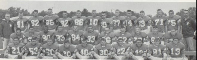 Pictures of the Past is from the 1967 Lincoln Community High School yearbook. Shown are members of the Railer Varsity Football team. In front from left: P. Singleton, R. Butts, R. Hardy, M. Correll, R. Hall, K. Brown, D. Voyles, G. Purdue, T. Salansky and P. Pirmann. Second row from left: R. Malerich, T. Mikelson, G. Guy, S. Paulis, J. Ball, D. Fults, co-captain, J. Yeates, co-captain, M. Andrews, H. Diersing, T. Lessen and D. Thompson. Third row from left: Coach Urban, G. Harsha, D. Smith, E. Martin, M. Gerhardt, T. Aue, K. Courtwright, T. Wilmert, D. Lohrenz, J. Wise, E. Seggelke, M. Twist, D. Wilmert and Coach McDonald. Seniors for that year included: Mike Andrews, Jim Ball, Henry Diersing, Don Fults, Greg Guy, Terry Lessen, Tom Mikelson, Stan Paulis and John Yeates.