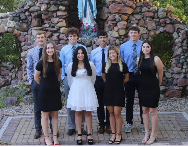 King candidates are, from left: Will Funke,, Michael Bequette, Octavio Lopez and Blake Miller.   Queen candidates are from left: Kaitlyn Howard,Sofia Barrientos, Bayley Allgood and Ruby Bruggeman.