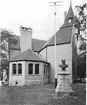 For nearly 60 years, the bust of Horatio Seymour greeted visitors to the Oneida County Historical Society in the Munson-Williams Memorial building on a triangular plot bordered by John and Elizabeth streets and Park Avenue in Utica. Seymour was mayor of Utica in 1842, twice elected governor of New York and in 1868 was an unsuccessful candidate for president of the United States. Democrat Seymour was defeated by Republican Ulysses S. Grant. When the Munson-Williams building was torn down in 1956, the bust of Seymour was moved to Horatio Seymour School in North Utica. The bust was the work of Sculptor David Richards and had been donated to the historical society by Dr. George Miller of Omaha, Nebraska, a longtime friend of Seymour. The bust today greets visitors to the Oneida County History Center at 1608 Genesee St. in Utica. In 1876, when the history center was founded, Seymour was its first president.