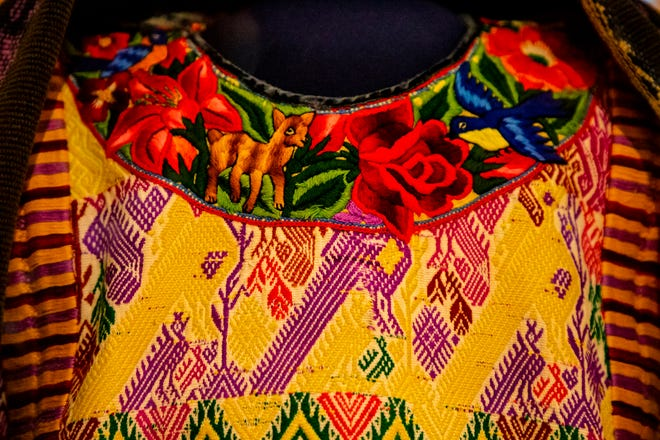"""This is an up-close view of a female """"traje"""" top in the """"Guatemalan Textiles, Heart of the Maya World"""" at the Sam Noble Oklahoma Museum of Natural History, University of Oklahoma in Norman."""