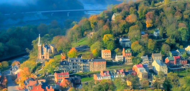 The picturesque town of Harpers Ferry, West Virginia, is about 60 miles from Washington, D.C.
