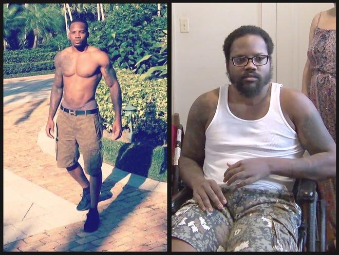 These before-and-after photos show Domonique Washington, who was a personal trainer before the February 2017 crash in Riviera Beach that left him with debilitating injuries. He now lives with his parents in Wisconsin and often uses a wheelchair.