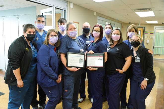 Phelps Health received the American Heart Association's Mission: Lifeline® EMS Gold Plus Achievement Award. Shown here are Emergency Department staff.