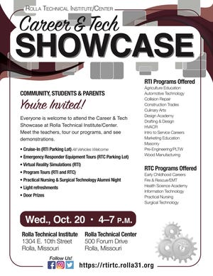 Rolla Technical Institute and Rolla Technical Center are holding a career and tech showcase 4 p.m. to 7 p.m., Oct. 20.