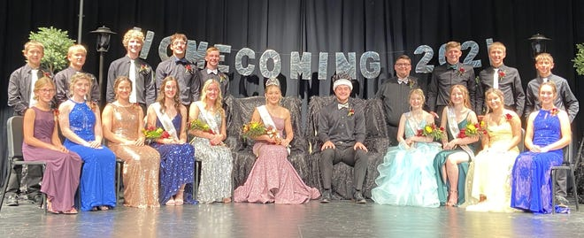 The Wabasso Homecoming Court posed for a photo after the crowning of Queen Paige and King Jayden at Coronation on Monday evening, Sept. 27, front from left: Peyton Jenniges (7th grade), Scarlett Hillesheim (8th grade), Avery Carlson (10th grade), Kelsey Fischer (12th grade), Ashlyn Daub (12th grade), Queen Paige Paplow and King Jayden Goblish, Kirsten Kramer (12th grade), Elizabeth Pitzl (12th grade), Makalya Steffensmeier (11th grade), and Emma Salfer (9th grade). Back: Tyson Lightfoot (7th grade), Jayson Marotzke (8th grade), Joe Liebl (9th grade), Isaac Kronback (12th grade), Wyatt Soupir (12th grade), Jamison Rohlik (12th grade), Sam Welch (12th grade), Adryen Tietz (11th grade), and Kayson Harms (9th grade). Homecoming activities include the volleyball game against Sleepy Eye on Thursday night, the Homecoming Dance on Friday night, and on Saturday—the Homecoming Parade in the afternoon and football game, against TMB, at 5 p.m.