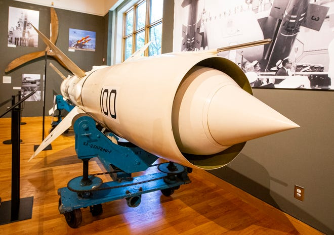 """A Bendix RIM-8 Talos Missile sits in the """"Manufacturing Victory"""" exhibit at The History Museum in South Bend."""