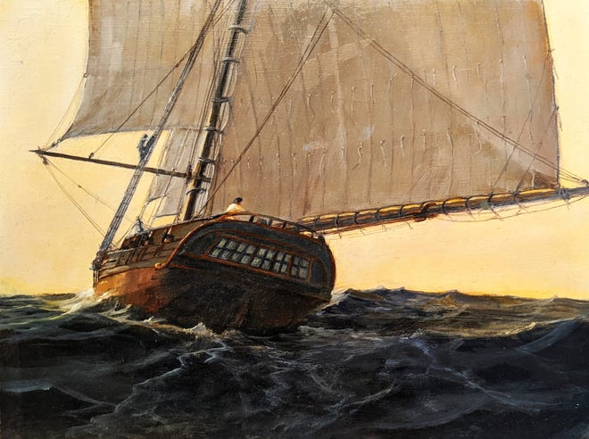 """Nicholas Fox's oil painting """"The Union"""" is one of the works that will be included in the American Society of Marine Artists' """"2021 North Juried Regional Exhibition"""" from Oct. 9 to Nov. 28, 2021, at Krasl Art Center in St. Joseph."""