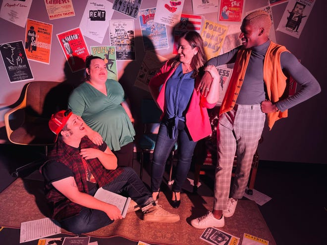 """From left, Brian F. Finnerty, Debbi White, Jennifer Baker and Andrew Smiley star in the Players Centre production of """"[title of show]"""" at Art Center Sarasota."""