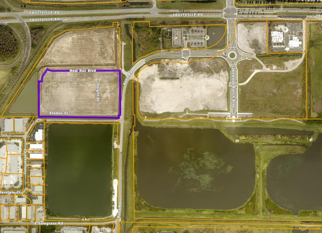 The Collier Companies purchased the 13.22-acre parcel outlined in purple. This screen capture came from the Sarasota County Property Appraiser's GIS map.