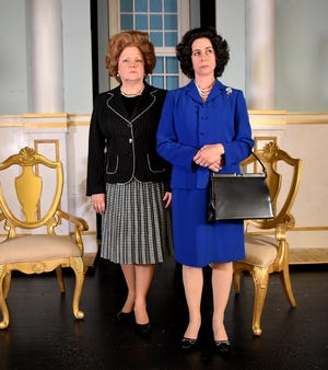 """Cynda Wrightsman, left, portrays British Prime Minister Margaret Thatcher and Mary Young plays Queen Elizabeth in """"The Audience."""""""
