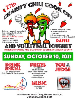 Some of the activities during the chili cookoff include a raffle and a volleyball game at Juana's Pagodas and Sailor's Grill in Navarre Beach.