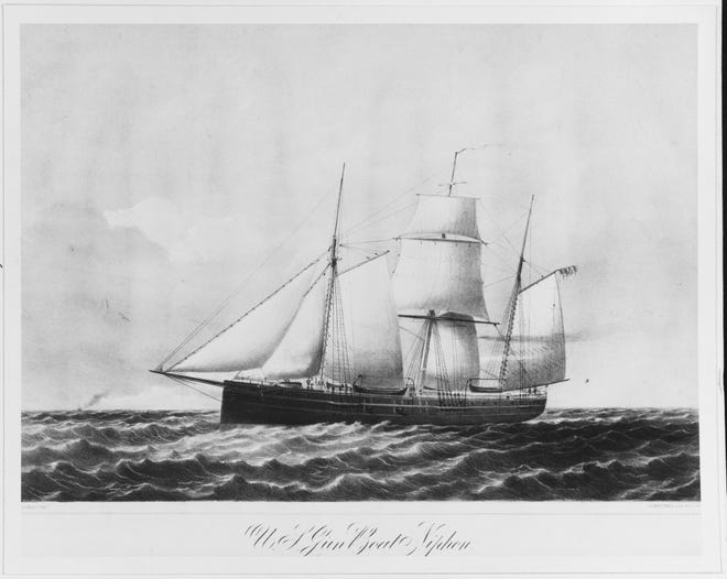 USS Niphon, a gunboat propelled by a steam-driven screw propeller, patrolled a 30-mile arc in the open ocean south of the mouth of the Cape Fear.