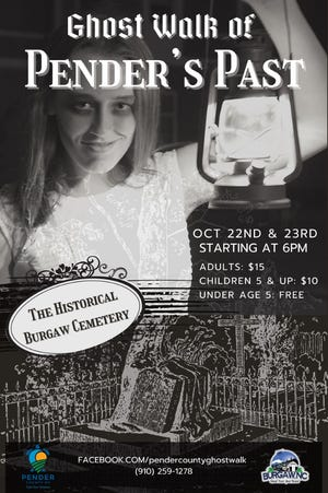 Ghost Walk of Pender's Past will be held Oct. 22-23 at Burgaw's historic cemetery