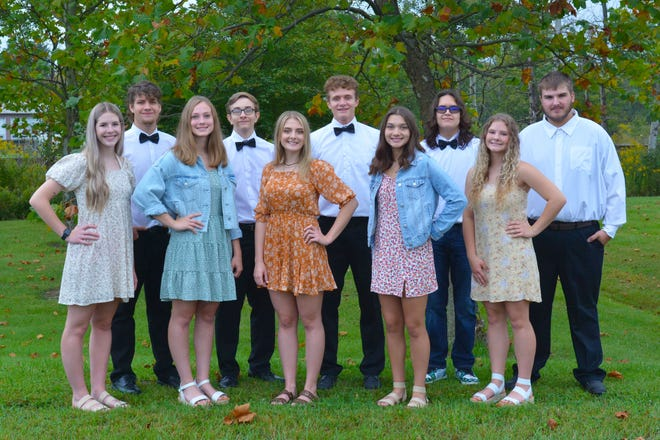 The Shade-Central City High School 2021 homecoming court is shown, from left to right: (front) Abby Putnick, Cassie Mauger, Lucy Mincek, Reese Koback and Madysen Bihun; and (back)  Jake Custer, Mike Mabon, Braden Adams, Michael Busch and Cole Landis.