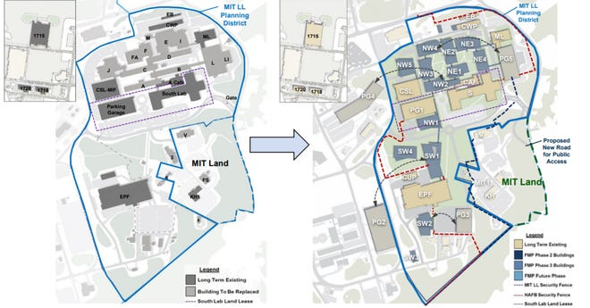 Plans for Lincoln Laboratory for 2025 (left) compared to the projected end state in 2055.