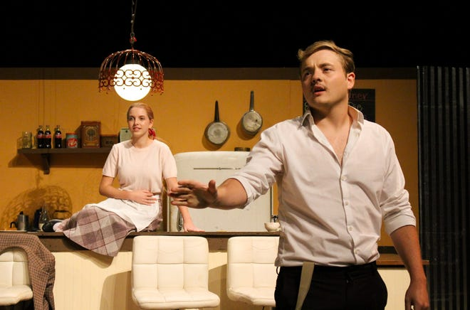 """Olivia Huffman (left) and Aaron Quartemont in a scene from Theatre of Louisiana College production of """"Bus Stop""""directed by May 2021 LC theatre graduate Samantha O'Banion."""