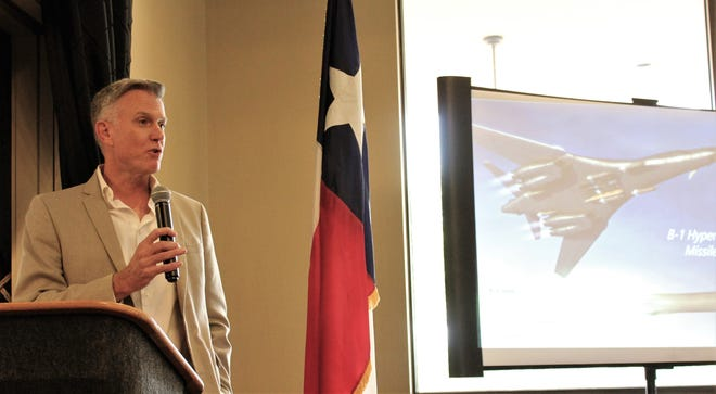 Robert Gass, now with Boeing development in Oklahoma City but who served as Dyess AFB commander from 2008-10, explained B-1 hypersonic missile development Tuesday to members of the Military Affairs Committee of the Abilene Chamber of Commerce and other guests.