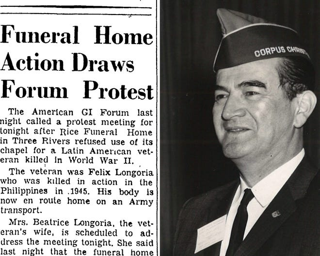LEFT: The headline in the Corpus Christi Caller on Jan. 11, 1949 was the beginning of the Longoria Affair which catapulted the American GI Forum to a national spotlight. RIGHT: Dr. Hector P. Garcia, founder of the American GI Forum, in July 1965