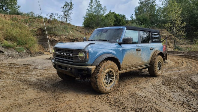 The Bronco doesn't mind getting muddy on the trails and hills at Holly Oaks.