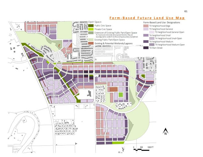 A revised version of proposed future land use map for the South District of Iowa City presented to the planning and zoning commission on September 16, 2021.