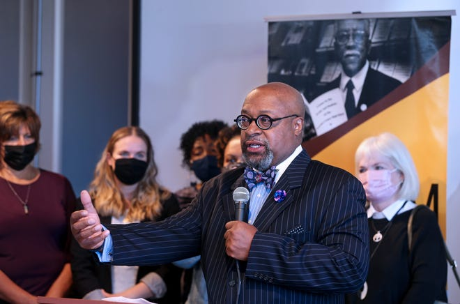 """Robert """"Bert"""" Davis, president and CEO of America's Black Holocaust Museum, announces on Tuesday, Sept. 25, 2021, that the museum will have grand reopening on Feb. 25, 2022, which would have been the 108th birthday of founder James Cameron."""