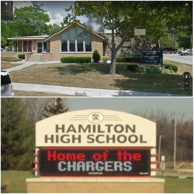 The Port Washington-Saukville School District (top photo) and the Hamilton School District (bottom photo) have put in temporary mask requirements at their schools. Port Washington-Saukville has a mask requirement for Dunwiddie Elementary School while the Hamilton School District put in a districtwide temporary mask requirement.