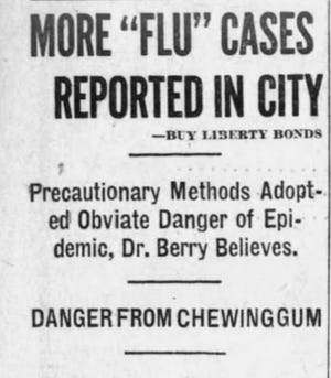 A local headline reflects the growing number of flu cases, as the Spanish flu spread in 1918.